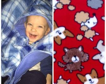 Car seat poncho, toddler poncho, fleece poncho, girl poncho, boy poncho, baby poncho, carseat poncho, toddler car seat poncho, puppies