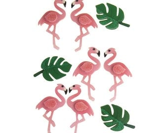 Pink Flamingo 3D Handmade Stickers, 9-Count