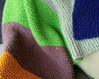 Chunky Garter Stitch Knit Throw, Multi-Color Chunky Knit Throw