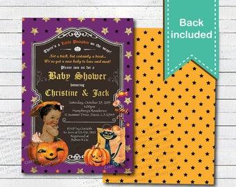 Halloween baby shower invitation. Vintage African American couple coed  baby shower digital invite. Little pumpkin on the way HA025