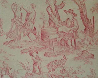 Gorgeous antique FRENCH faded pinks toile linen textile fabric~ projects