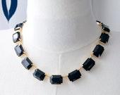 Jet Black Collet Necklace