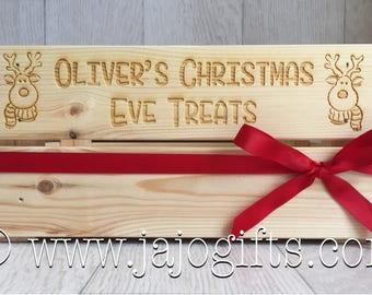 Engraved Personalised Reindeer Christmas Eve Box Crate Solid Wood