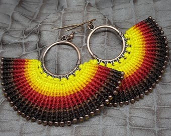 Micromacrame earrings. The Sun on your ears.