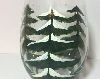 Snowy Tree Wine Glass