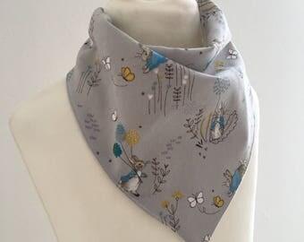 Peter Rabbit Bib Grey - Peter Rabbit baby gift - Beatrix Potter baby shower gift - Peter Rabbit Gift Set - Bandana Bib and Taggy Blanket