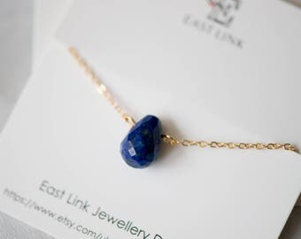 14K gold plated water drop shaped Sapphire blue natural stone semi gemstone pendant necklace cut surface by East Link jewellery design