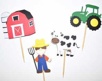 Farm Cupcake Toppers | Barn + Tractor + Cow + Farmer | 12 Pieces | Farm Party | Barnyard Party | Birthday | Baby Shower