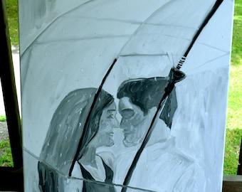 Rain and Romance - Acrylic Painting on Canvas. 24x36