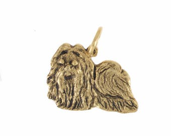 Lhasa Apso charm in antique gold plated pewter. Lhasa Apso charm. Lhasa Apso Jewelry.  Lhasa Apso bracelet.