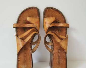 Vintage Nine West Tan Engraved Leather Sandals