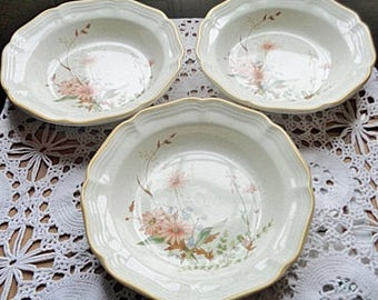 Mikasa Field Bouquets Stoneware Dinnerware 3 Soup Coupe Bowls Adorned With Lovely Floral ~ Free Shipping