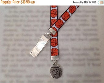 ON SALE Basketball bookmark with clip - Attach clip to book cover then mark the page with the ribbon. Never lose your bookmark!