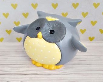 Pudgy Gray and Yellow Owl Piggy Bank, Owl Piggy Bank, Piggy Bank, Owl Bank, Baby Bank, Owl Nursery, Baby Owl, Baby Shower Gift, Baby Gift