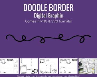Digital Graphics - Doodle Border (png and svg) Bullet Journal Digital Stickers
