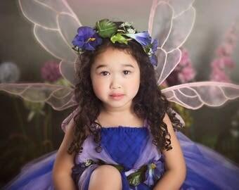 Purple Woodland Dress, Flower Girl Dress, Whimsical Fairy, Tinkerbell Costume, Halloween Princess Costume, Toddler Dress Up, Enchanted Fairy