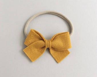 Mustard Baby Headband - Baby Bow Headband - Baby Girl Headband - Baby Girl Bows - Felt Bows - Toddler Hair Clips - Nylon Headband
