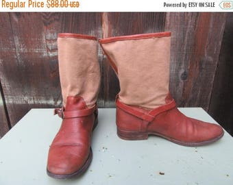 Sale Frye Canvas and Leather Harness Boots Engineer Calf Riding Western Size 8