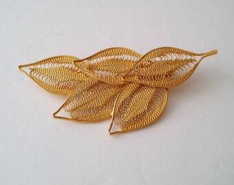 Vintage Gold Plated Leaf Brooch
