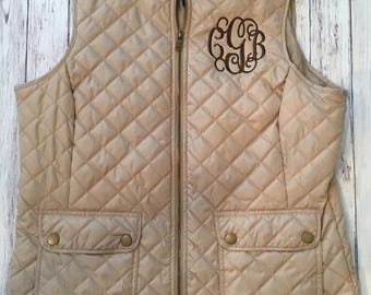 SALE! Monogrammed tan quilted vest