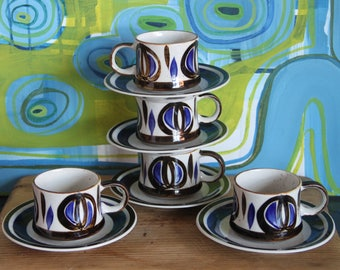 Vintage Retro Ceramic Made in Japan Coffee/Tea Cup and saucer set  Stoneware with Blue pattern (5)