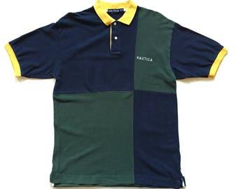 90s NAUTICA sailing polo button up shirt multi colour block green blue yellow size medium