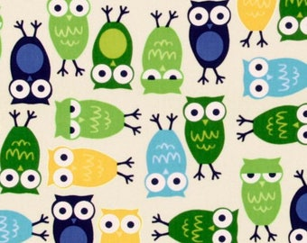 COTTON FABRIC Owls - Fat Quarters Only - 'Urban Zoologie' by Robert Kaufman 100% premium cotton