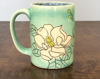Handmade Mug with Magnolia Drawing. In Aqua and Blue. MA6