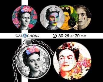 Frida • 45 Images Digitales RONDES 30 25 20 mm Frida Kahlo kalo kahlo mexique skull flower boheme muerte sugar mexican peinture tableau