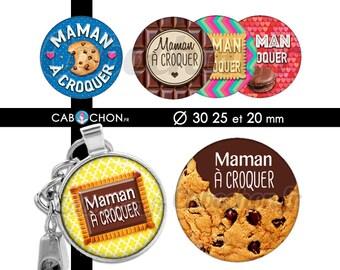 Maman à croquer  • 45 Images Digitales RONDES 30 25 20 mm cookie biscuit chocolat petit lu beurre macaron croqué gateau gourmande