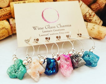DRUZY WINE CHARMS, Wine Theme Favors, Wine Charms, Wine Gift, Wine Glass Charms, Hostess Gift, Wine Accessories, Designed by LasmasCreations