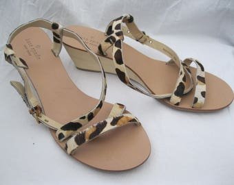 Kate Spade Leopard Pony Hair Wedge Sandals Size 9 1/2M