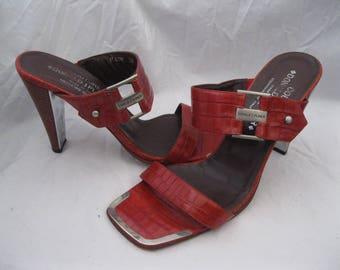 Donald J. Pliner Red Crocodile Print Open Toe Sandal Heels Size 7 1/2 M