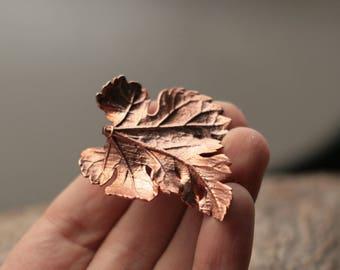 Carved leaf pendant, real mulberry leaves electroplated, electroforming, botanical jewelry, electroformed necklace, copper, elven elvish elf