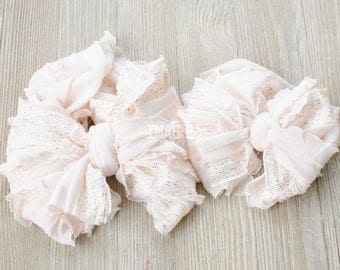 Messy Ruffle Bow Headband - Pale Blush with Gold