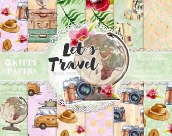 Travel paper pack, Summer Papers, Safari digital paper, planner supplies, printable papers, travel backgrounds, wunderlust, printable