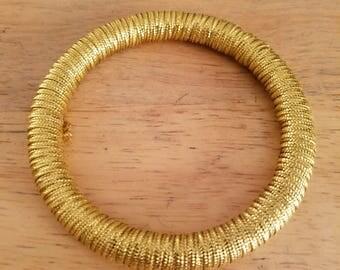 Vintage Plus Size Goldtone Fabric Covered Bangle Bracelet