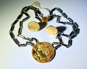 """Mariam Haskell """"New/Old"""" Coin Necklace and Earrings"""
