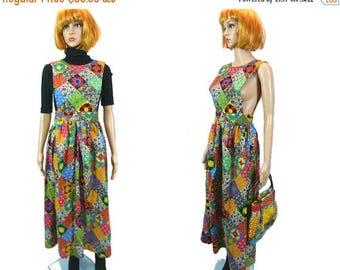 tempSALE Vtg Dress & Bag Set / Handmade Patchwork Hippie Dress / 60s 70s /Side Boob /Cut Out Back / Apron Maxi Dress /Vinage Festival Dress