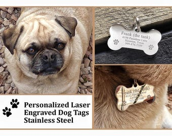 Dog Tags for Dogs, Personalized Dog Tags, Small Dogs, Laser Engraved Gifts, Stainless Steel Pet ID Tag, New Puppy Gift