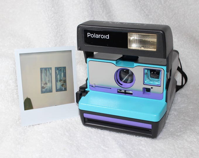 Turquoise, Purple and Brushed Silver Polaroid 600 OneStep - Cleaned, Tested, and Ready For Fun