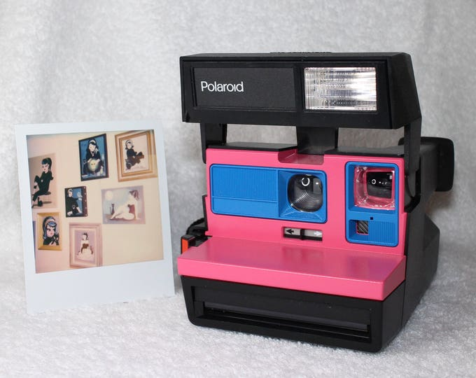 Upcycled Polaroid Sun 600 with Pink and Blue - Cleaned and Tested