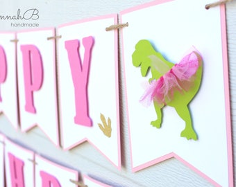 Dinosaur Birthday Banner, Girl Dinosaur Birthday Banner