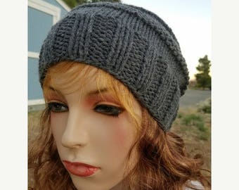 15% OFF SALE Handknitted slouchy hat, Ready to ship, Knitted hat, Knitted beanie, winter hat, Dark Grey hat, knitted women's hat