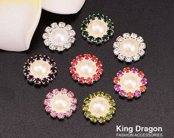 Rhinestone Pearl Embellishment Buttons Flat Back 10MM 50pcs/lot Silver Color Used On Flower Center