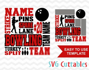 Bowling svg, Bowling Subway Art svg, Bowling dxf, eps, Bowling cut file, bowling template,  Silhouette, Cricut cut file, Digital download