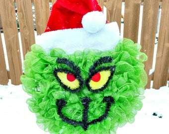 Large deco mesh Grinch Wreath