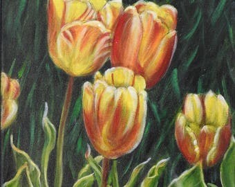 Tulips in the Garden © Original Oil Painting on canvas