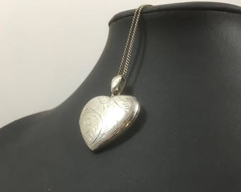 Large Vintage Engraved Sterling Silver Heart Pendant Locket on Long Chain
