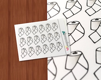 Toilet Paper Icon Stickers - Stickers for Planners, Bullet Journals, Travelers Notebooks, Scrapbooking, and more!